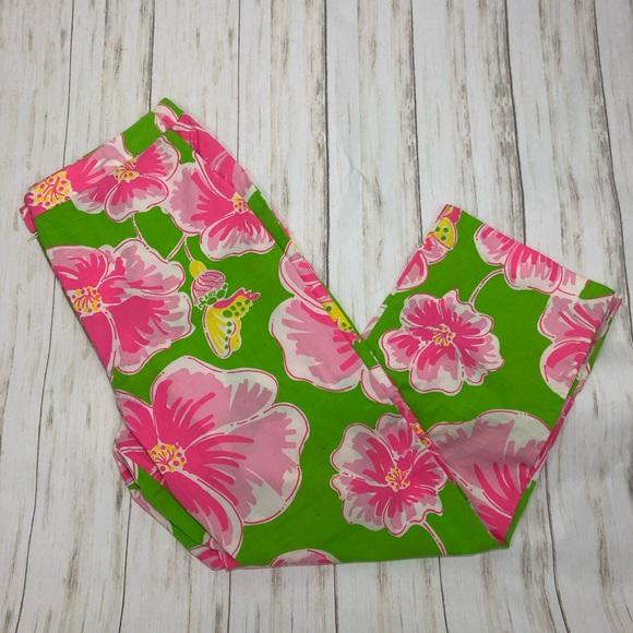Lilly Pulitzer Pants - Lilly Pulitzer White Label Flower Capris Sz 8